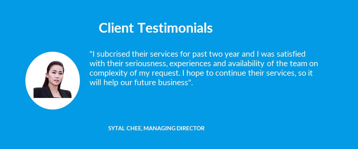 Company Secretary - 09 Client Testimonials - 01 Sytal Chee, Managing Director